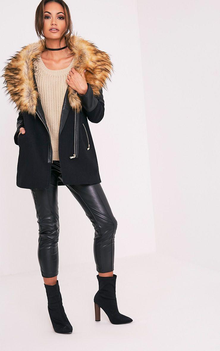 Zilie manteau col en fausse fourrure noir 5