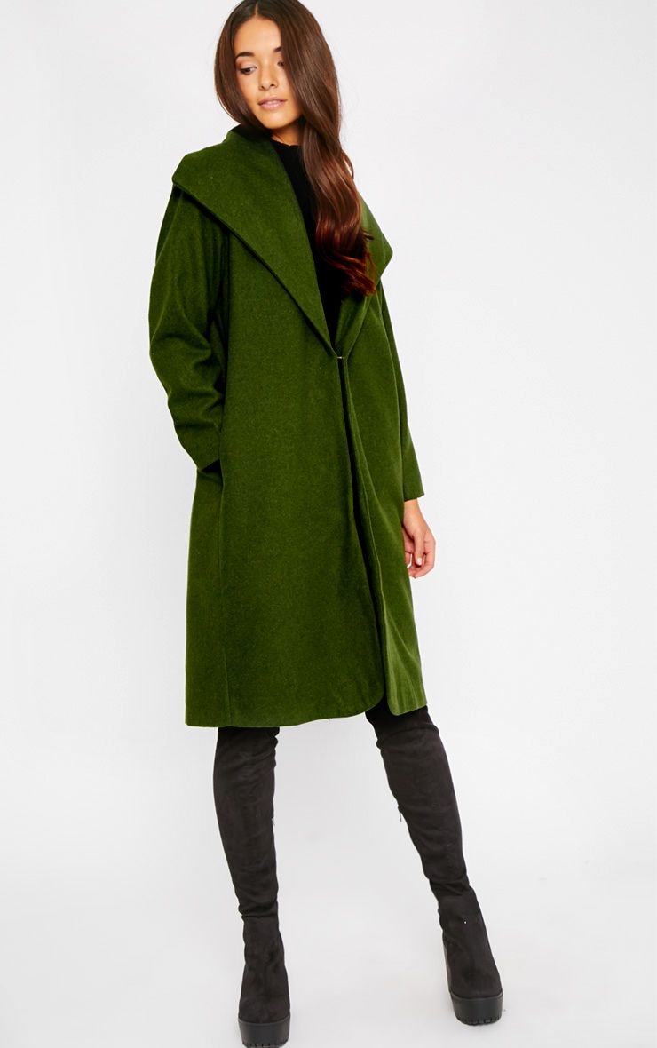 Gaia Green Brushed Wool Premium Waterfall Coat 1