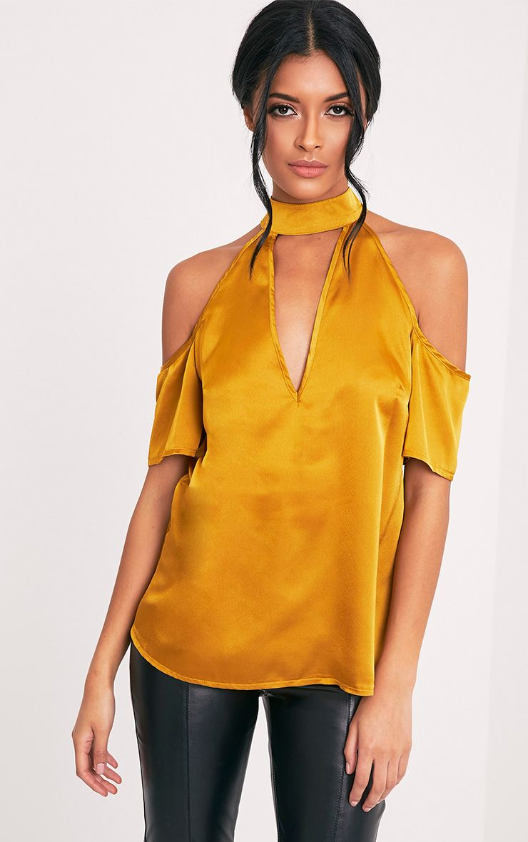 Chelsee Gold Satin Cold Shoulder Choker Top