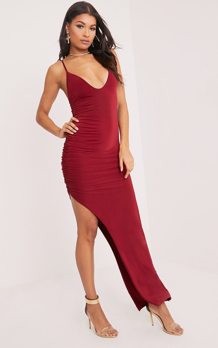 Albian Burgundy Strappy Ruched Maxi Dress