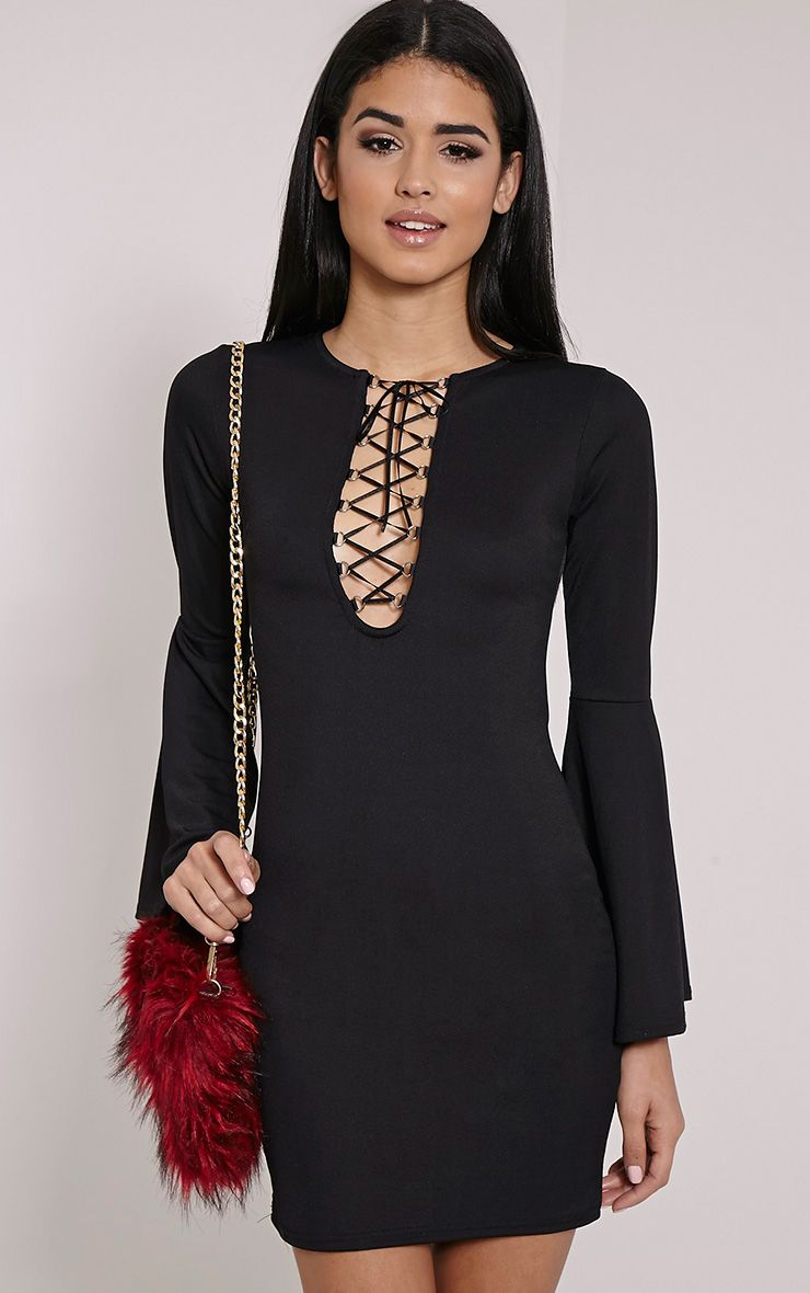 Opal Black Bell Sleeve Lace Up Mini Dress 1