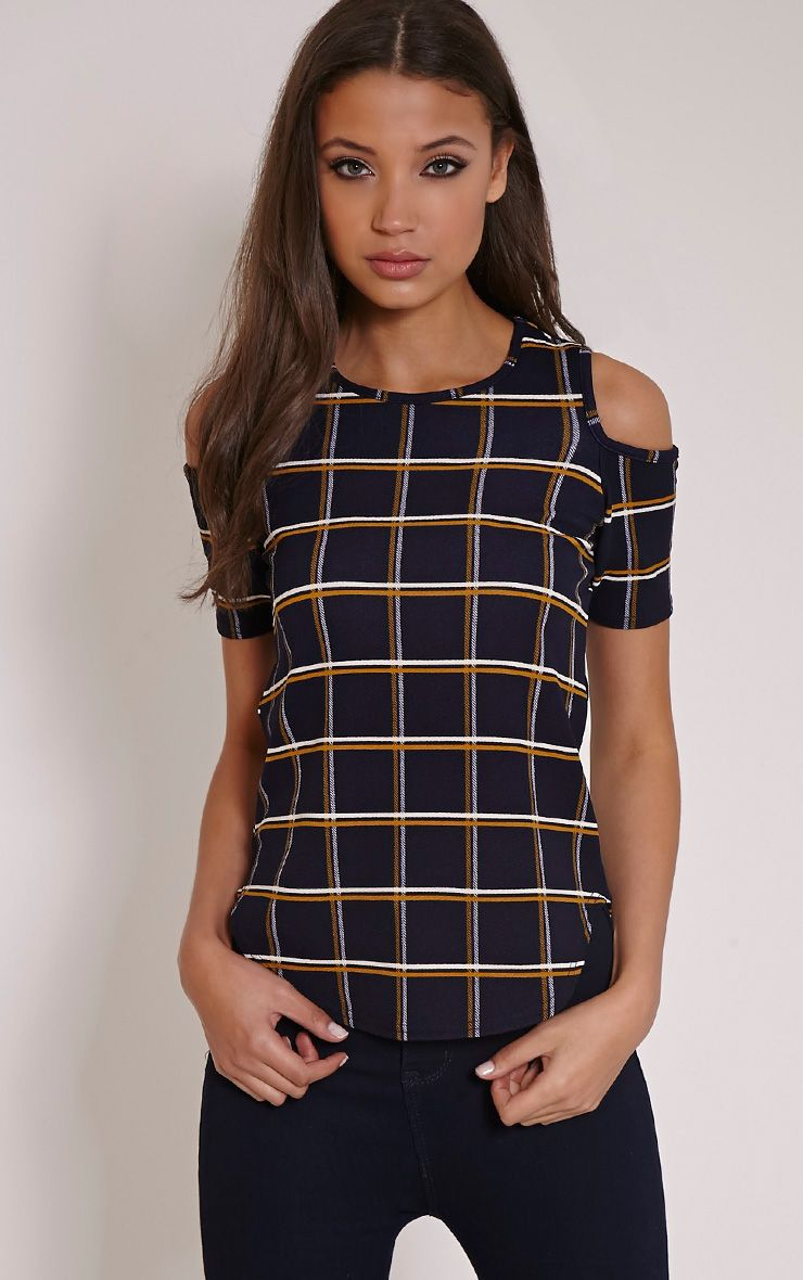 Anora Navy Checked Cold Shoulder Dip Hem Top 1