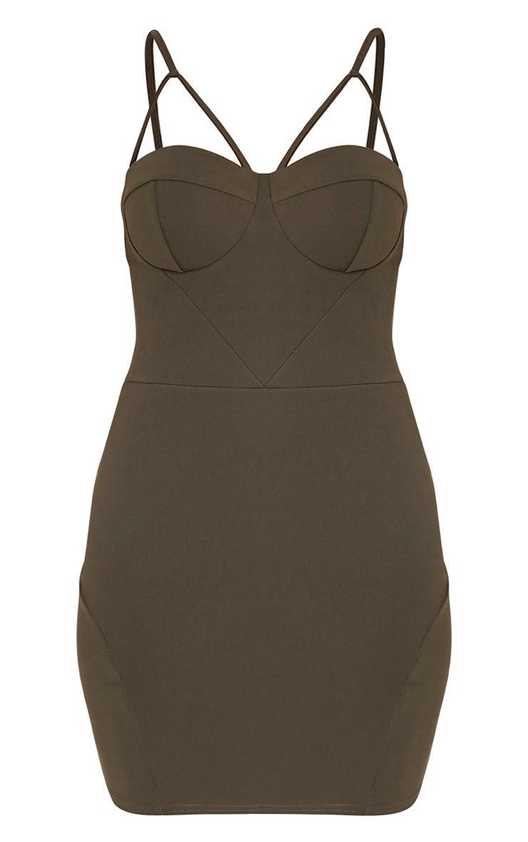 Carrie Khaki Crepe Panel Bodycon Dress 3