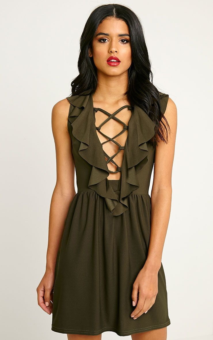 Chaya Khaki Lace Up Skater Dress 1