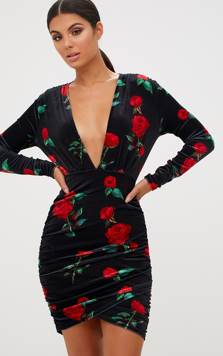 Black Floral Printed Velvet Ruched Bodycon Dress 1