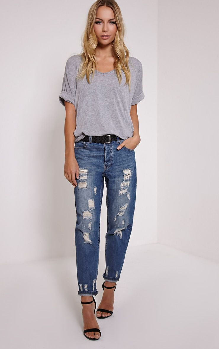 Ester Blue Mid Wash Ripped Boyfriend Jean 1
