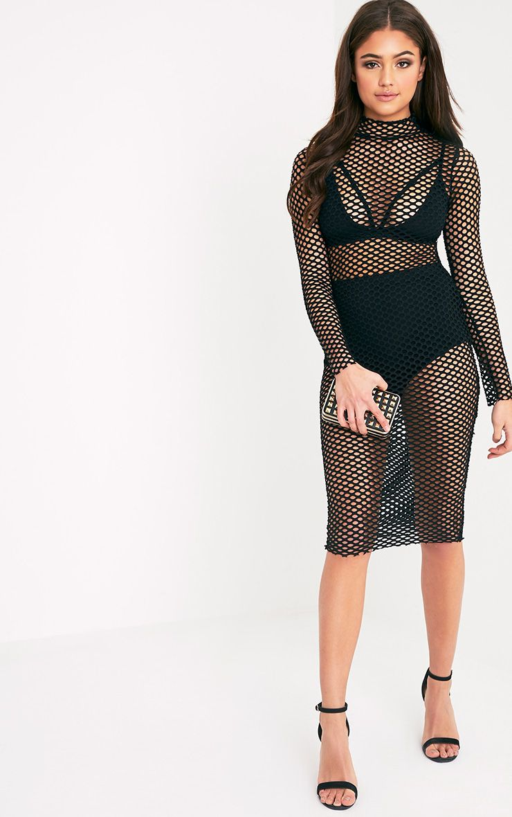 Sammie Black Fishnet Midi Dress
