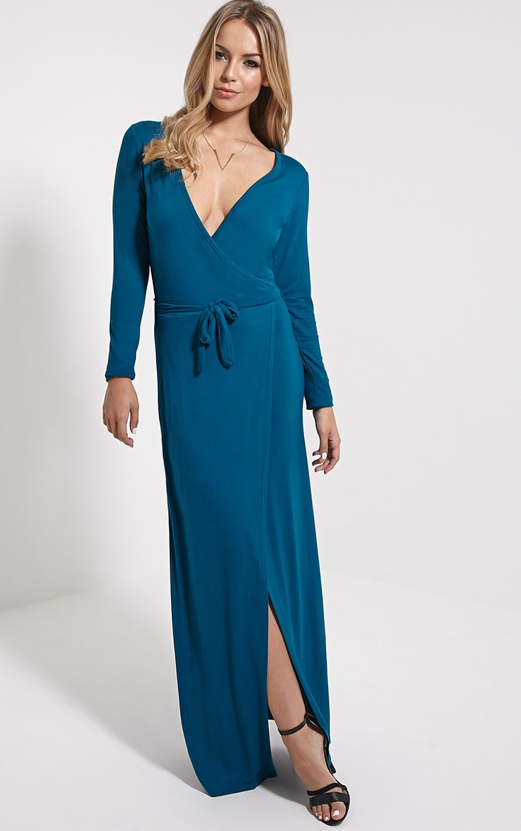 Pennie Teal Wrap Front Maxi Dress 1