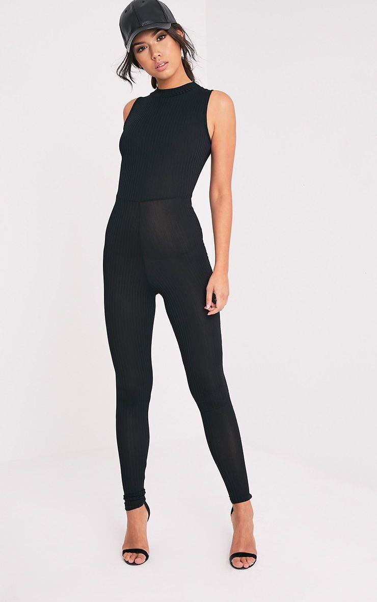 Lyla Black Ribbed High Neck Jumpsuit 1