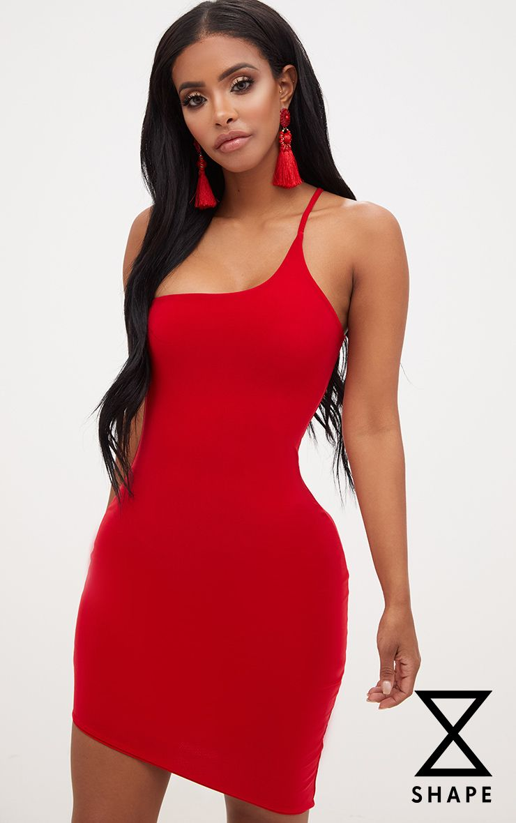 Shape Red One Shoulder Asymmetric Bodycon Dress