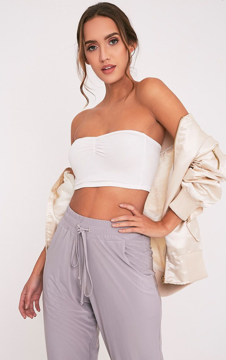 Basic Cream Ruched Bandeau Top