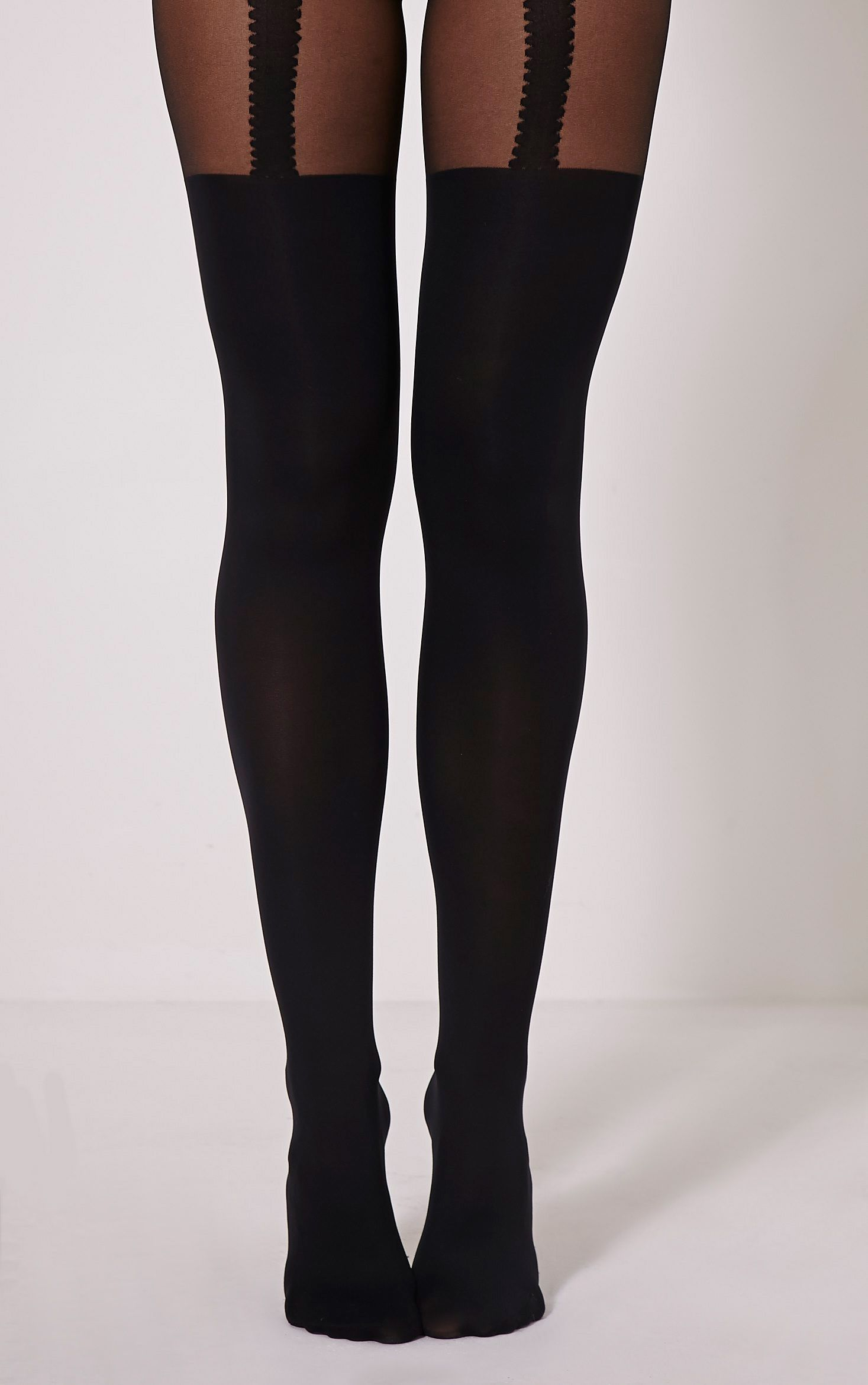 Favia Black Suspender Tights Black