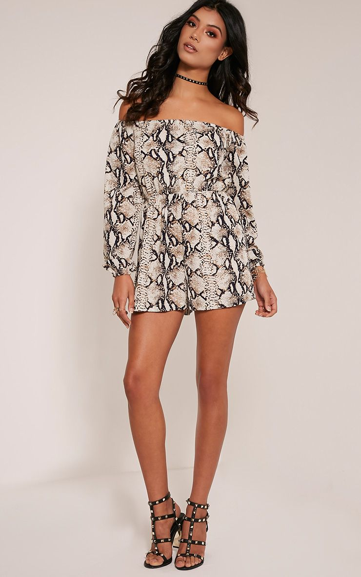 Kennie Taupe Snake Print Bardot Playsuit