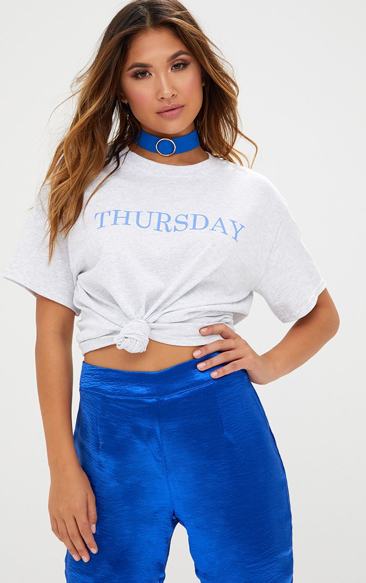 Grey Marl THURSDAY Slogan T Shirt