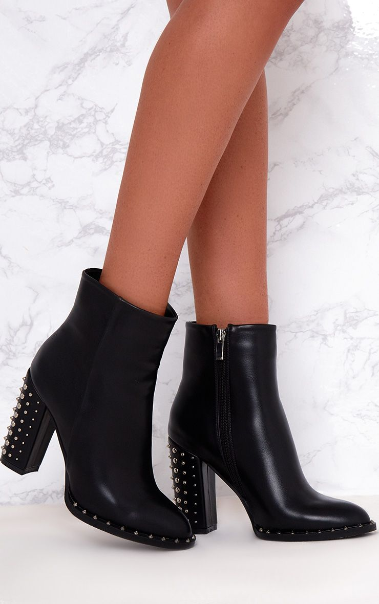 Black Studded Sole Heeled Ankle Boots
