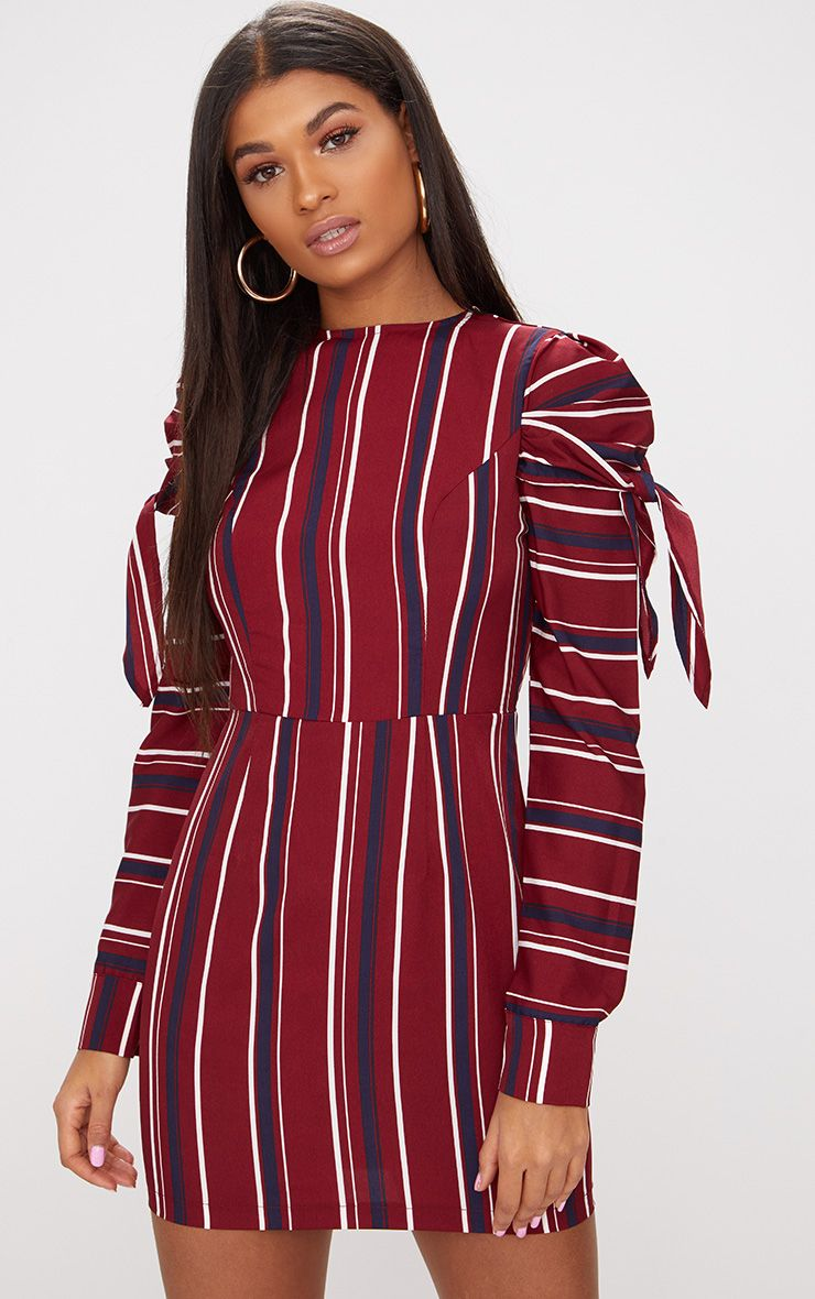 Burgundy Striped Long Sleeve Tie Detail Bodycon Dress