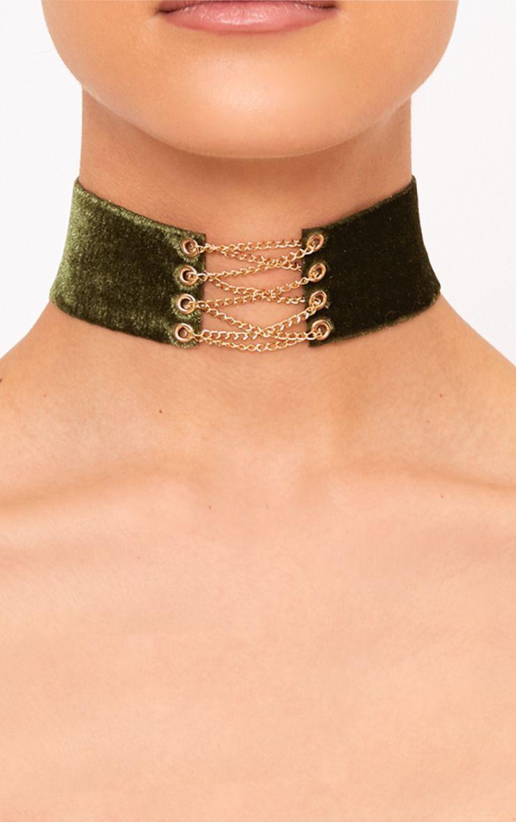 Jeslynne Khaki Velvet Lace Up Choker