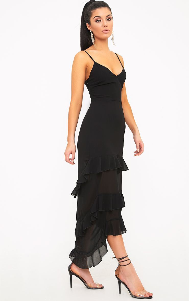 Issiabella Black Chiffon Frill Hem Midaxi Dress