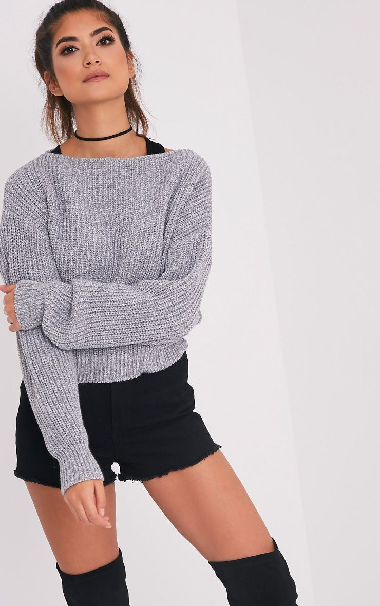 Christiana Grey Mixed Knit Slash Neck Crop Jumper