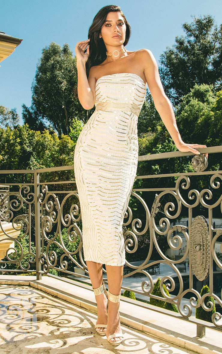 Zeenia White Premium Lace Bandeau Midi Dress