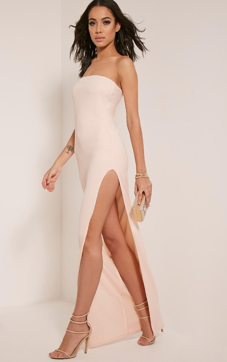 Marie Nude Extreme Split Bandeau Maxi Dress