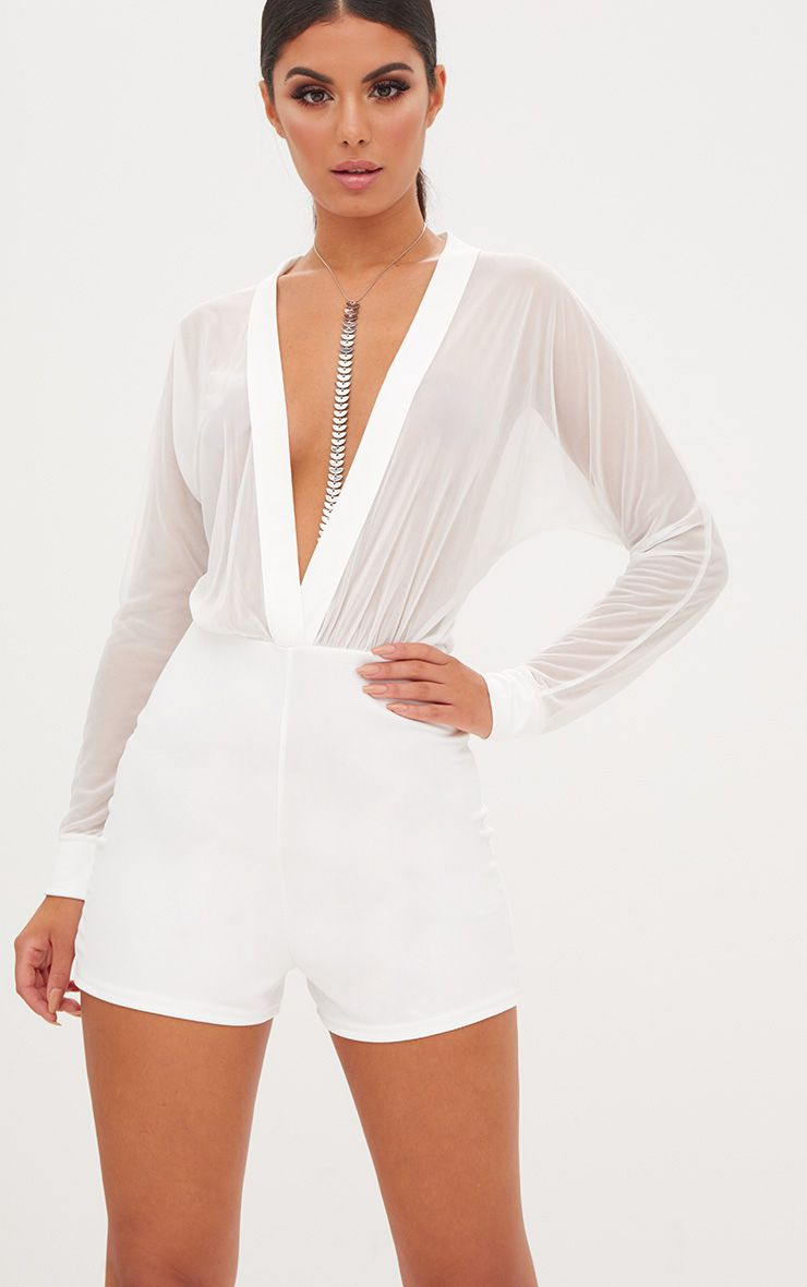 White Mesh Plunge Long Sleeve Playsuit