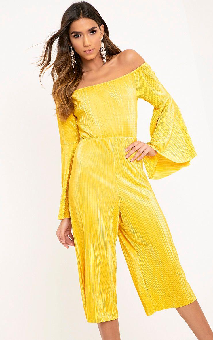 Delilah Mustard Bardot Flare Sleeve Jumpsuit