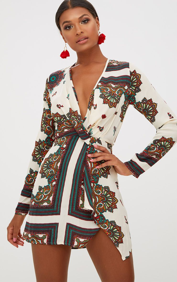 White Printed Satin Long Sleeve Wrap Dress