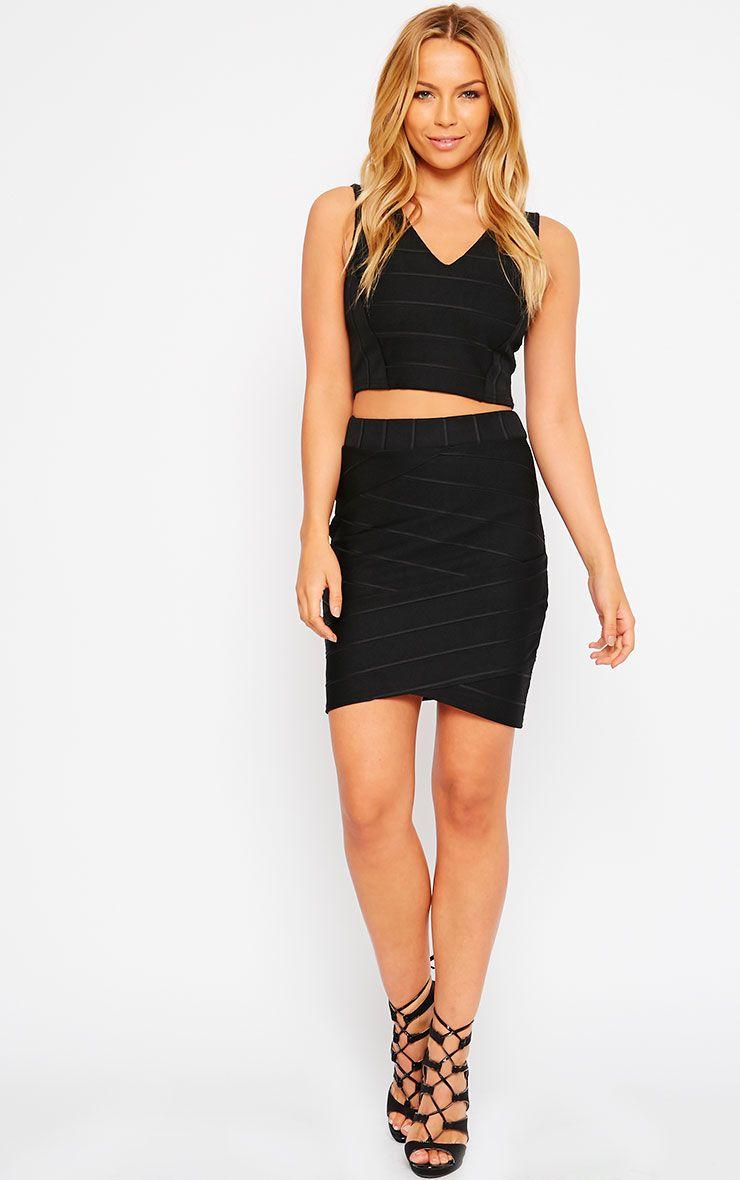 Kirsten Black Bandage Mini Skirt 1