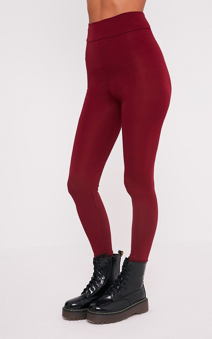 Basic leggings bordeaux taille haute en jersey 4
