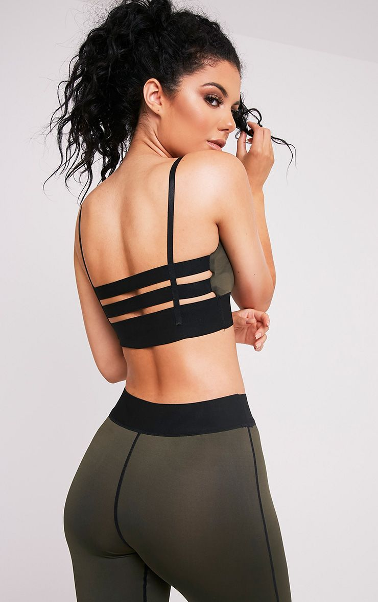 Georgiana Khaki Caged Back Sports Bra
