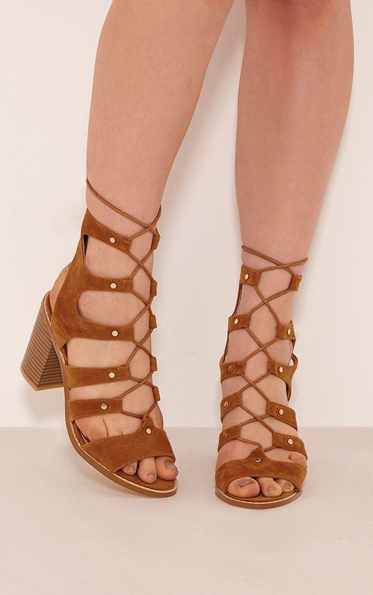 Moni Tan Faux Suede Lace Up Sandals 1