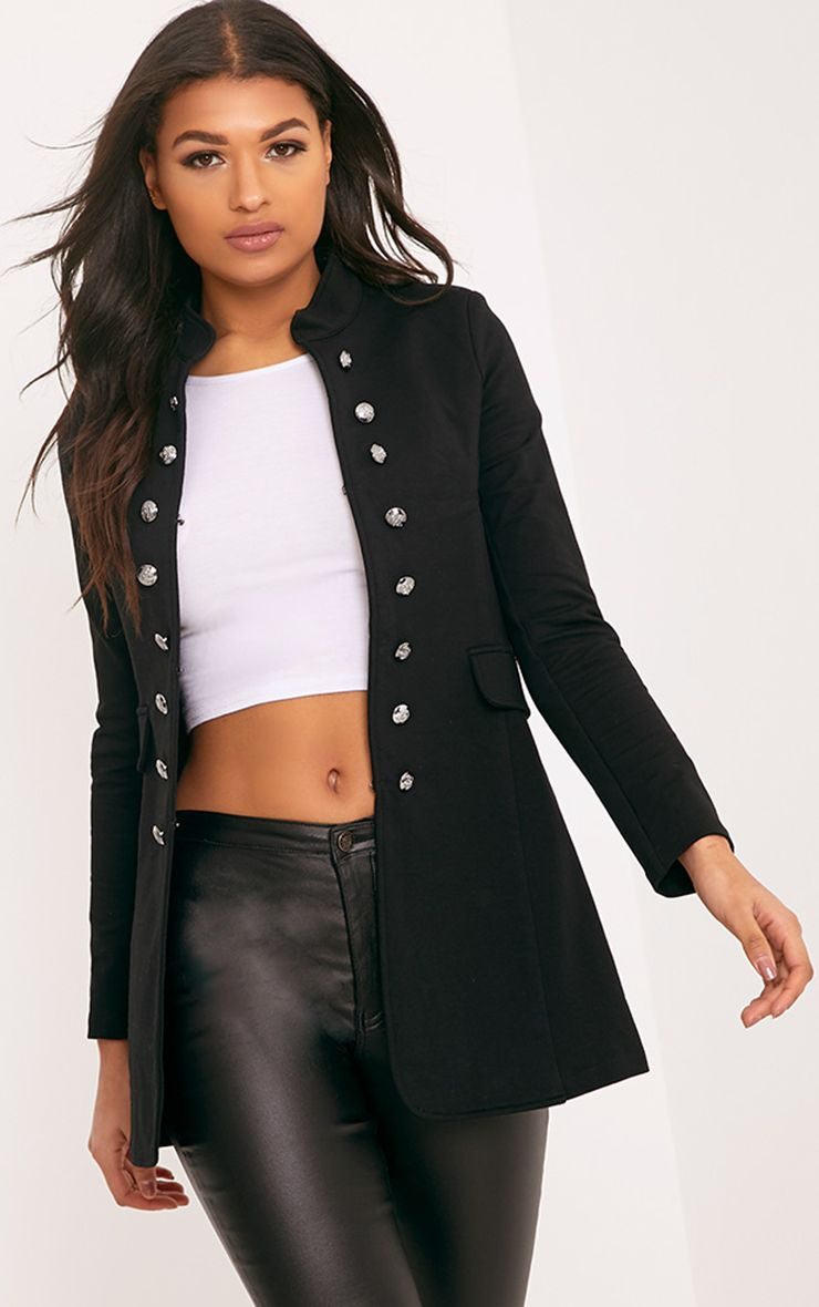 Solenn Black Double Button Military Coat