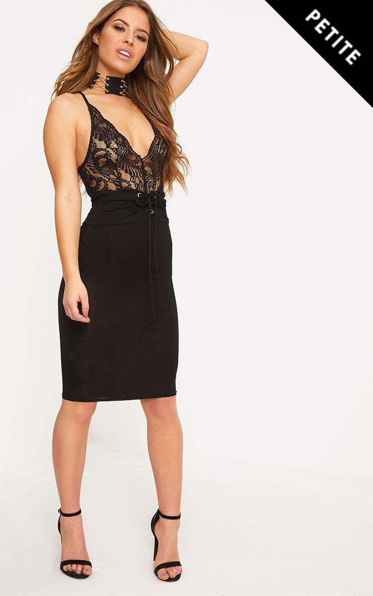 Petite Black Corset Waist Midi Skirt