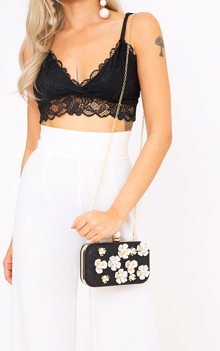 Black 3D Flower Box Clutch