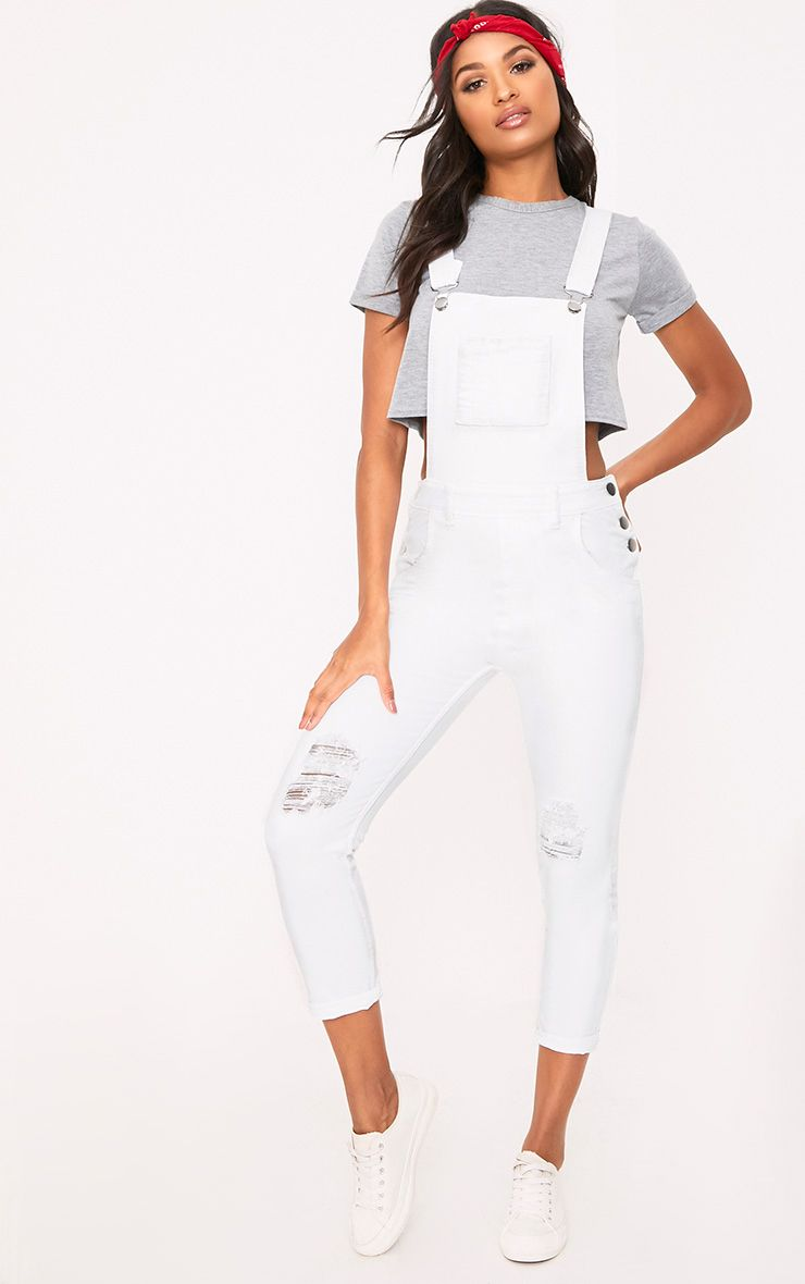 Honey White Knee Rip Dungaree