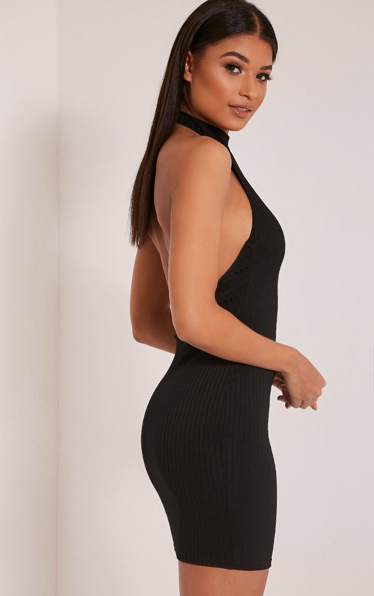 Angelica Black Ribbed Scoop Back Bodycon Dress 1