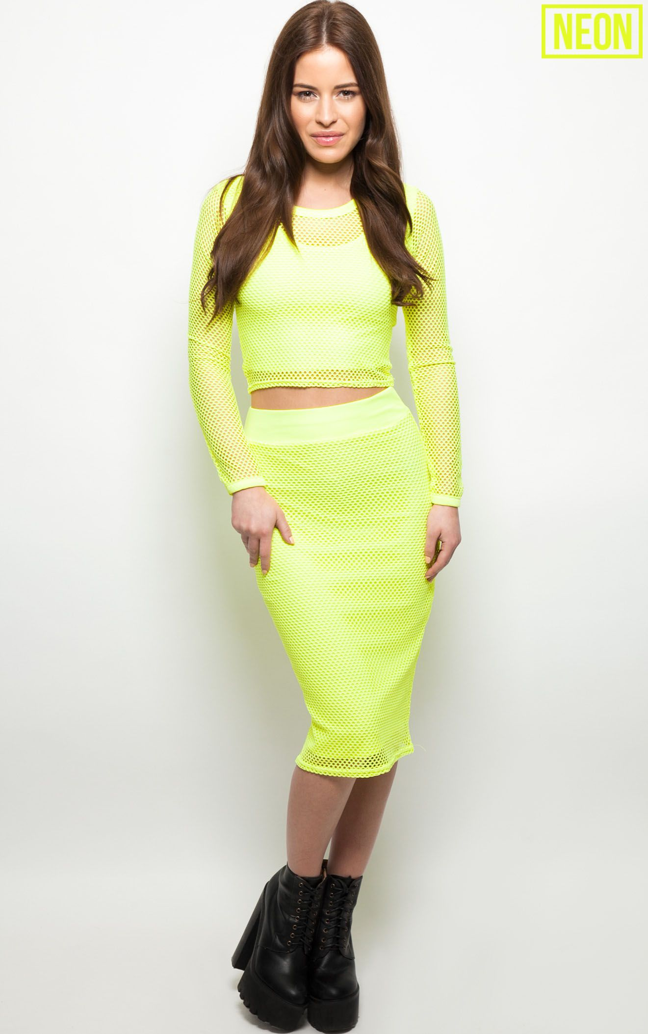 Eleanor Neon Yellow Fishnet Midi Skirt  1