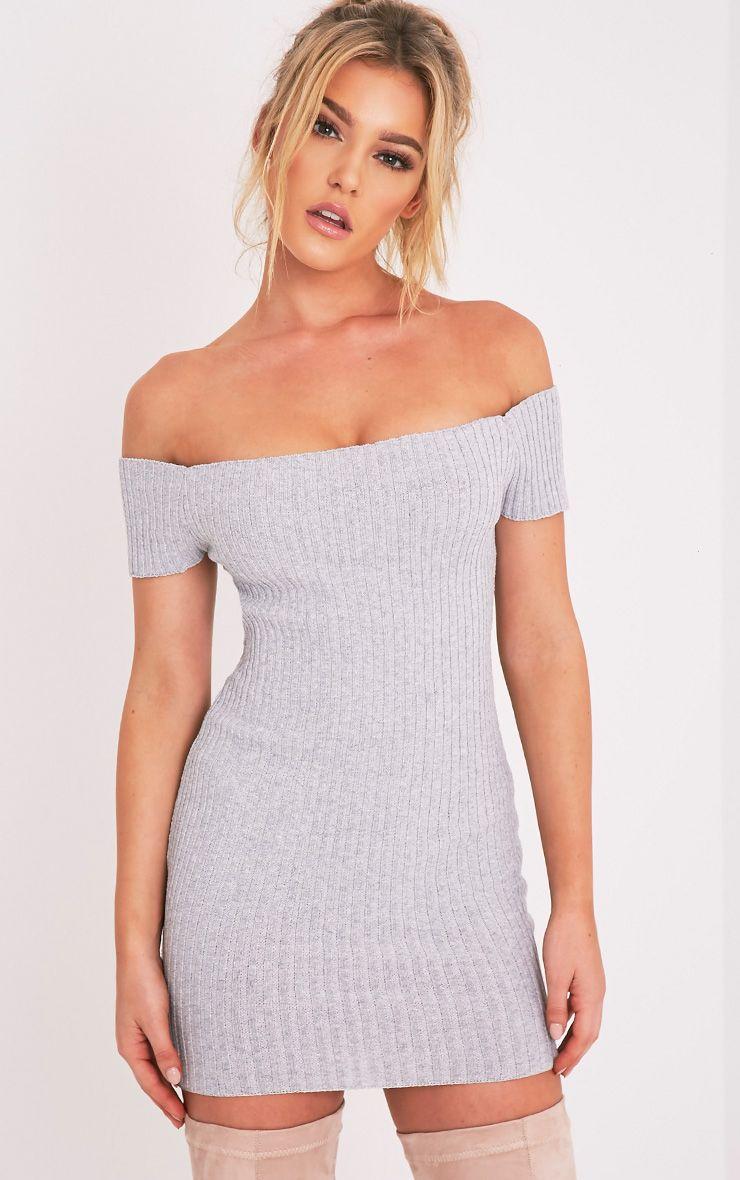 Jordi Grey Bardot Ribbed Knitted Mini Dress