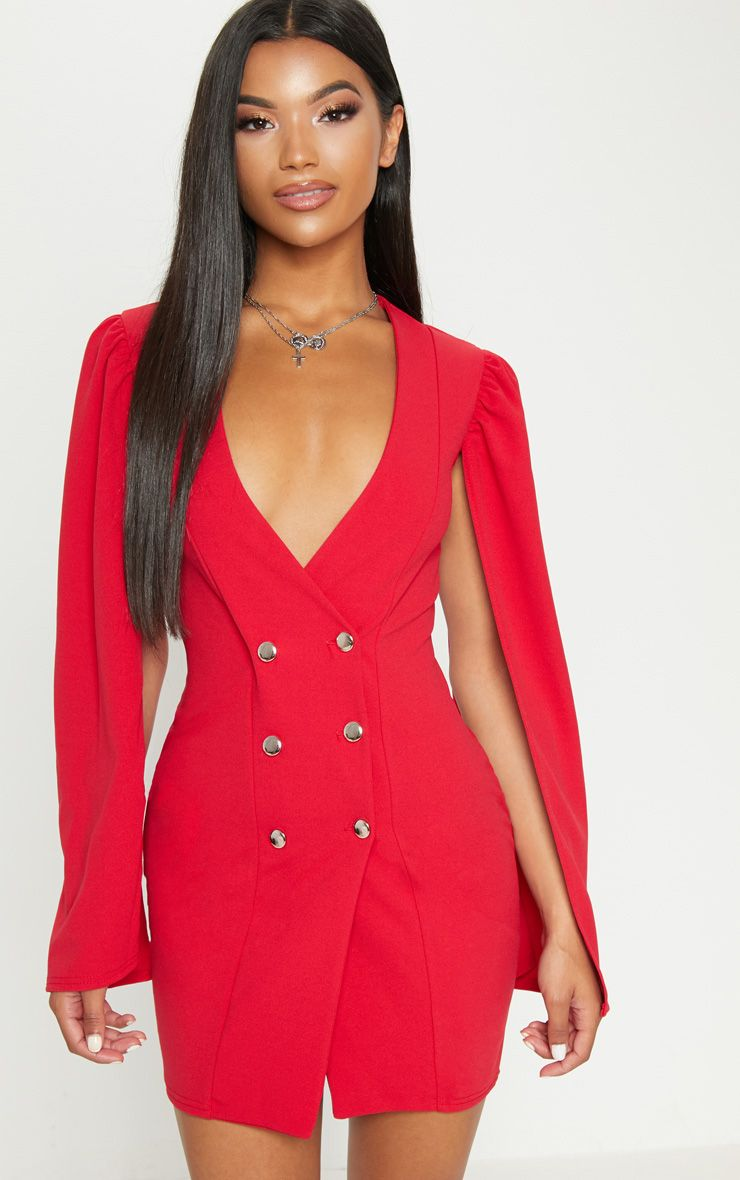 Red Cape Button Detail Blazer Dress