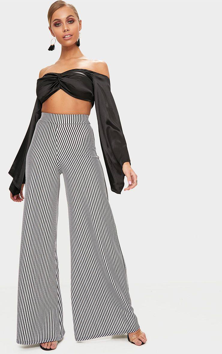 Monochrome Ribbed Pinstripe Wide Leg Trousers