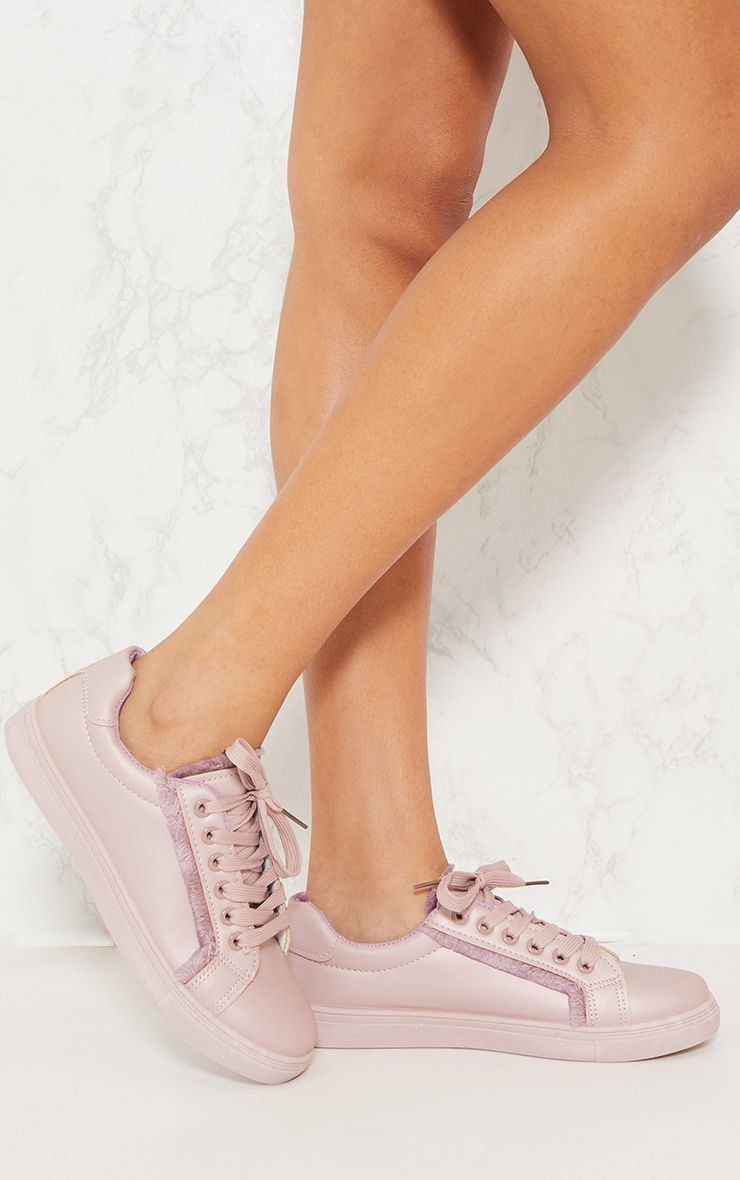 Lilac Frayed Edge Lace Up Trainer