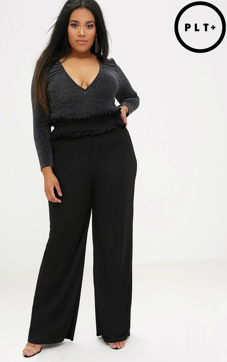 Plus Black Frill Waist Flare Trousers