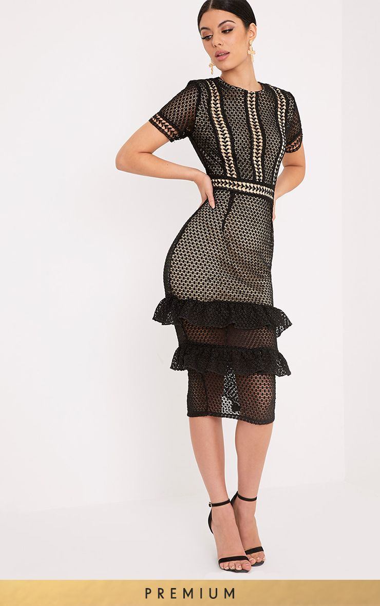 Anna Black Lace Frill Midi Dress
