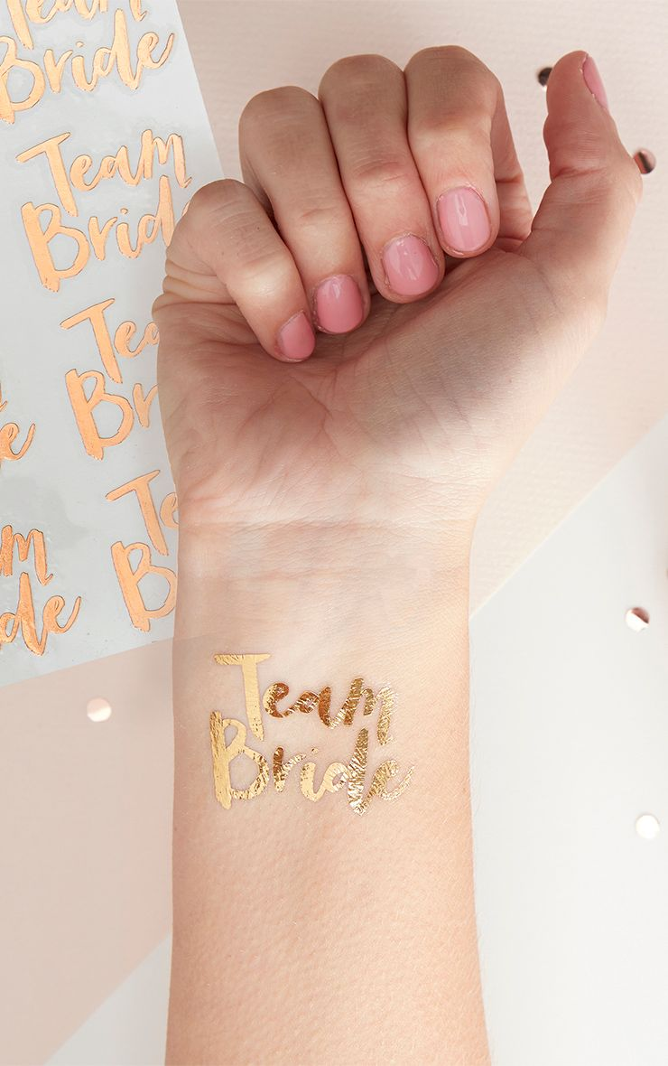 'Team Bride' Rose Gold Temporary Tattoos