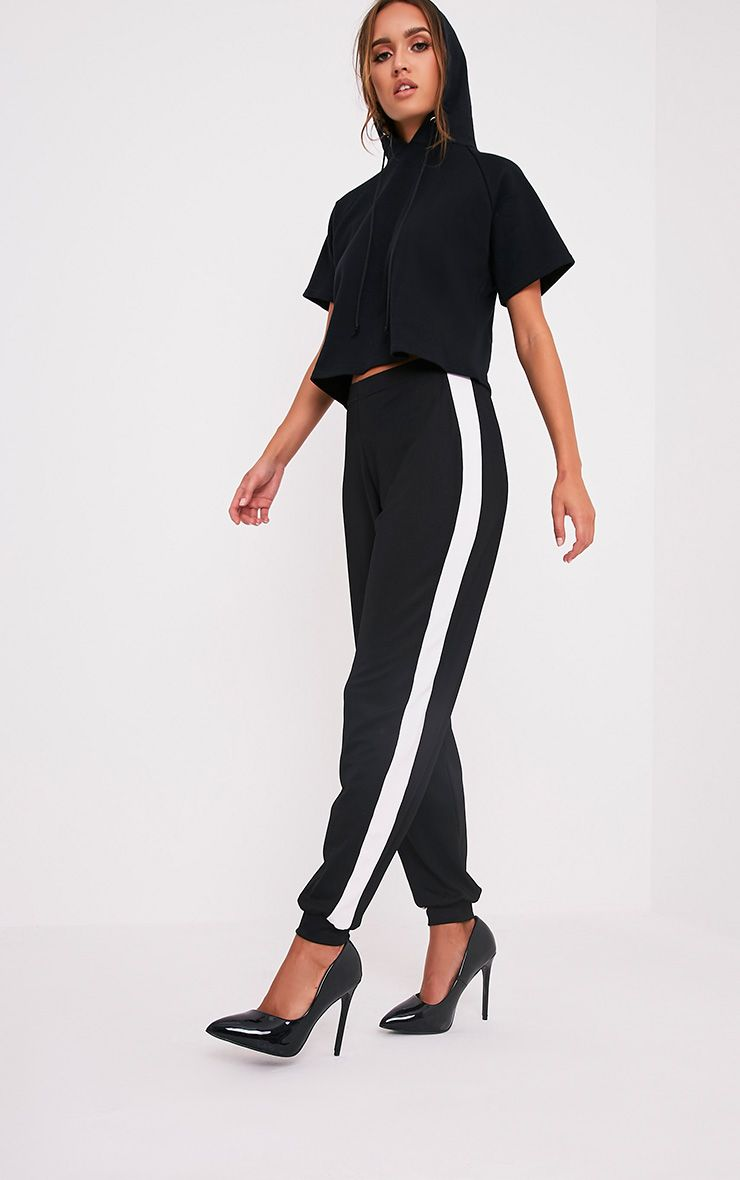 Renae Black Side Stripe Crepe Joggers
