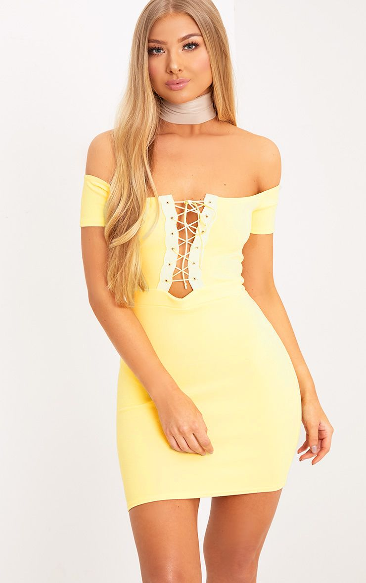 Florie Lemon Bardot Corset Detail Bodycon Dress 1