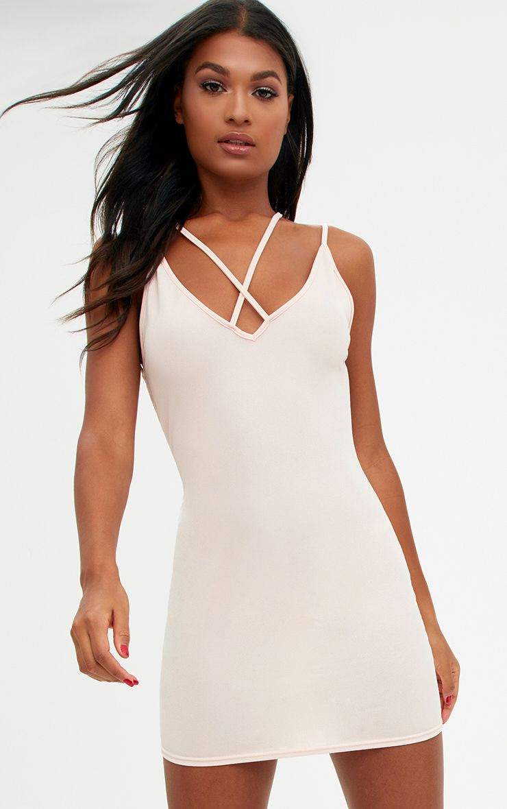 Nude Strap Detail Low Back Bodycon Dress