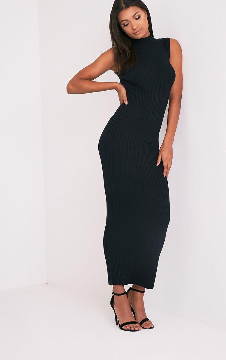 96dc1db4 Zeva Black Ribbed Sleeveless Knitted Maxi Dress - Knitwear ...