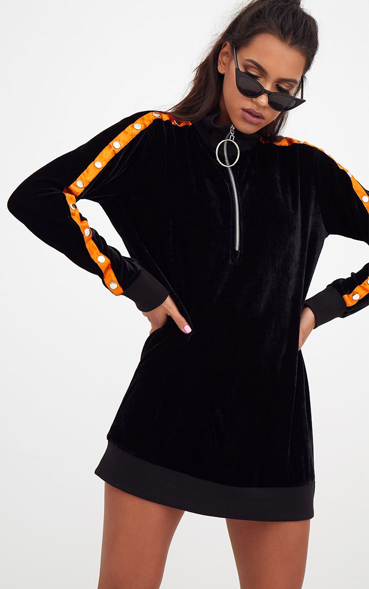 Black Velvet O Ring Sweater Dress